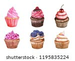 watercolor set of cupcakes with ... | Shutterstock . vector #1195835224