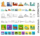 factory and facilities cartoon...   Shutterstock .eps vector #1195847524