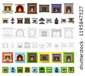 different kinds of fireplaces... | Shutterstock .eps vector #1195847527