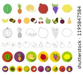 different fruits cartoon icons... | Shutterstock .eps vector #1195847584