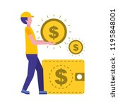 man holding coin dollar money... | Shutterstock .eps vector #1195848001