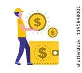 man holding coin dollar money... | Shutterstock .eps vector #1195848001