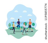group of people walking on the... | Shutterstock .eps vector #1195855774
