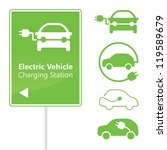 Electric Vehicle Charging Station road sign template with set of icons