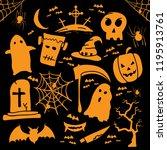 halloween icon set vektor | Shutterstock .eps vector #1195913761