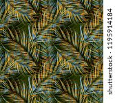 tropical colorful palm leaves.... | Shutterstock . vector #1195914184