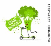 cute broccoli on a kick scooter ... | Shutterstock .eps vector #1195915891