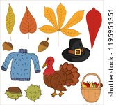 set of autumn and thanksgiving... | Shutterstock .eps vector #1195951351