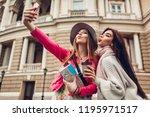 women tourists taking selfie...   Shutterstock . vector #1195971517