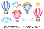 Watercolor Hot Air Balloons Se...