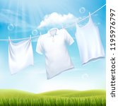 washing white clothes hanging... | Shutterstock .eps vector #1195976797