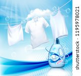 laundry detergent ad. white... | Shutterstock .eps vector #1195978021