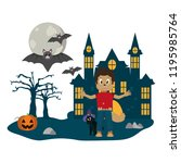 kid and halloween cartoon | Shutterstock .eps vector #1195985764