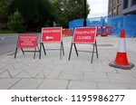 warning signs   safety cone in... | Shutterstock . vector #1195986277