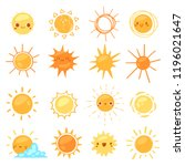 sun vector sunny icon with... | Shutterstock .eps vector #1196021647