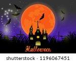 halloween background  big moon... | Shutterstock .eps vector #1196067451