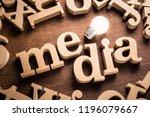 media word in scattered wood...   Shutterstock . vector #1196079667