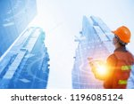 engineer with safety helmet and ... | Shutterstock . vector #1196085124