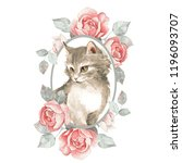Stock photo cat cute kitten and roses 1196093707