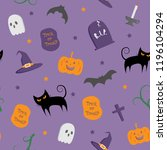 cute happy halloween seamless... | Shutterstock .eps vector #1196104294