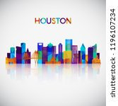 houston skyline silhouette in... | Shutterstock .eps vector #1196107234