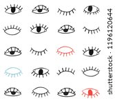 hand drawn eyes pattern.... | Shutterstock .eps vector #1196120644