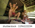 indians of the mentawai tribe ... | Shutterstock . vector #1196122234