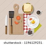 breakfast table with healthy... | Shutterstock .eps vector #1196129251
