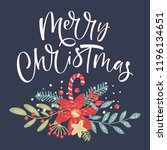 merry christmas calligraphy.... | Shutterstock .eps vector #1196134651