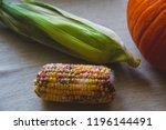 rotten corn on the table next... | Shutterstock . vector #1196144491
