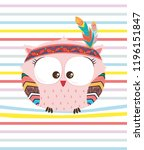 Stock vector cute indian hand drawn owl character on colorful stripes collection of owl vector illustration 1196151847