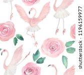flamingo dancing ballet. hand... | Shutterstock . vector #1196159977