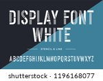 stencil line font. condensed... | Shutterstock .eps vector #1196168077