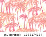 Print  Pink Palm Trees Seamless ...