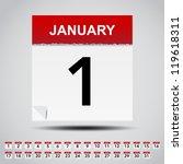 Calendar on white paper note. Illustration - stock vector