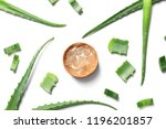 flat lay composition with aloe... | Shutterstock . vector #1196201857