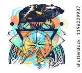 bear double exposure watercolor ... | Shutterstock .eps vector #1196229937