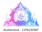 mountain and compass and wind... | Shutterstock .eps vector #1196230387