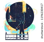 window cleaners wash universe ... | Shutterstock .eps vector #1196230417