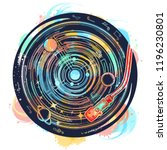 vinyl disk universe and music... | Shutterstock .eps vector #1196230801