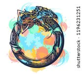ouroboros tattoo watercolor... | Shutterstock .eps vector #1196231251
