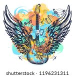 guitar and wings tattoo... | Shutterstock .eps vector #1196231311
