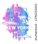 new york tattoo and t shirt... | Shutterstock .eps vector #1196231641