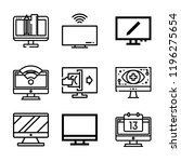 set of 9 screen outline icons... | Shutterstock . vector #1196275654