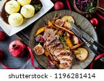 close up of sliced roasted duck ... | Shutterstock . vector #1196281414