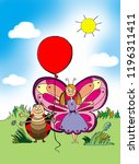 the butterfly and the beetle... | Shutterstock . vector #1196311411