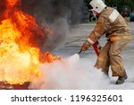 firefighter during training... | Shutterstock . vector #1196325601