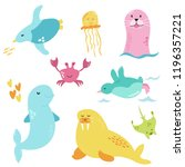 bright set with cute marine... | Shutterstock .eps vector #1196357221
