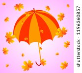 umbrella and autumn orange... | Shutterstock .eps vector #1196360857