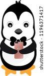 penguin chatting on a mobile... | Shutterstock .eps vector #1196371417